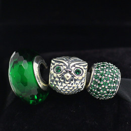 Wholesale Authentic Sterling Silver Charms and Murano Glass Bead Set Fits European Pandora Jewelry Charm Bracelets Green Owl Sets