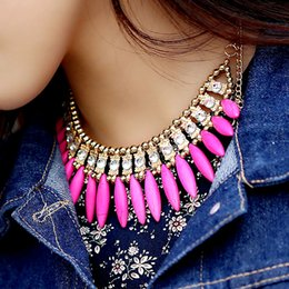 Wholesale Occident Style Bib Necklace Chain Choker Turquoise Crystal Pendant Necklaces Bohemian Exquisite Tassel Jewelry womens jewellery J0029