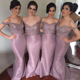 Off The Shoulder Lace Satin Bridesmaid Dresses 2019 Elegant Sweetheart Cheap Long Bridesmaid Dresses Formal Dresses