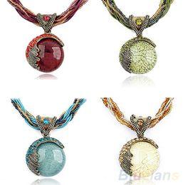 Wholesale-Women Bohemian Crystal Cat's Eye Stone Charm Vintage Necklace &Pendant 1PZ7