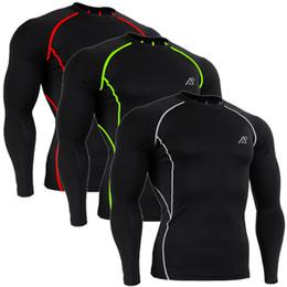 Descuento capas base Venta al por mayor-CPD-BL 3 COLORES / medias de la aptitud del Bodybuilding del BASIC que funcionan las camisas largas de las tapas de la manga de la capa de la base de la compresión para los hombres S ~ XXL