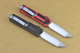 Wholesale Red Black Microtech Scarab Tanto knife CNC machined ELMAX HRC Satin T6 Aluminum handle tactical knife knives without logo