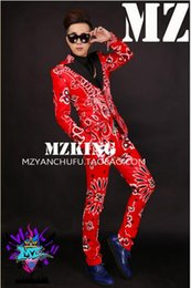 Male singer fashionable nightclub Europe and the United States shows red cashew flower black spandex suit costumes. S - 6 xl