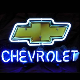 Wholesale 17 quot x14 quot Chevy Chevrolet US Auto design Real Glass Neon Light Signs Bar Pub Restaurant Billiards Shops Display Signboards