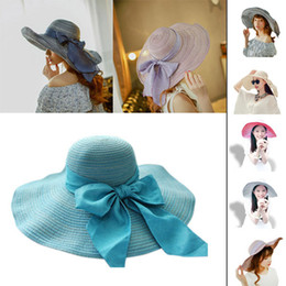Wholesale-Summer Style Sexy Women Wide Brim Bow Foldable Floppy Hat Bowler Vacation E5M1
