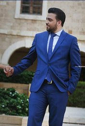 New Arrival 2016 Royal Blue Cheap Man Suit Groom Tuxedos Suits Groomsman Bridegroom Suits (Jacket+Pants+Tie) Wedding Groomsman