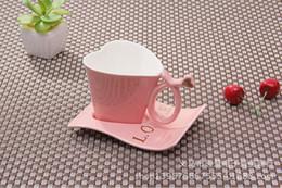 heart shape coffee cup ceramic tea cup set