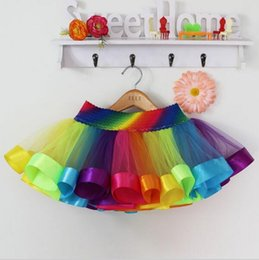 Wholesale Rainbow Girls Tutu Skirts Baby Ballerina Skirt Childrens Kids Petticoats Halloween Costumes Casual Candy Color Ball Gowns Skirt