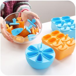 Wholesale round Rectangle fridge Ice Cream Pop Mold Popsicle Maker Lolly Mould Tray Kitchen DIY tools