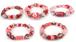 Free shipping new arrival fashion Valentine's day lover glass heart bracelet 5 design assorted