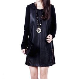 Wholesale-plus size 2015 autumn winter models stitching pu leather dress temperament long-sleeved soft curves M-XXXL