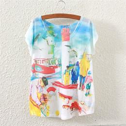 Vacances graphiques en Ligne-New Fashion Vintage Summer Autumn Femmes à manches courtes Holiday Beach Graphic Imprimer T Shirt Tees Tops Vêtements pour femmes T-shirt C1663