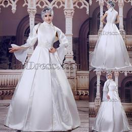 Novias musulmanes vestidos simples en venta-2015 Alto Cuello Musulmanes Vestidos de Novia Satén con mangas largas A-line Appliques Lace piso longitud Arabic Islam Vestidos de novia para las novias de las mujeres