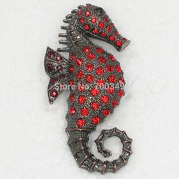 Wholesale 12piece lot Red Crystal Rhinestone Seahorse Brooches Fashion Costume Pin Brooch Jewelry gift C659 C