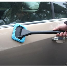 Wholesale New Arrive Microfiber Auto Window Cleaner Long Handle Car Wash Brush Dust Car Care Windshield Shine Towel Handy Washable Car Cleaning Tool