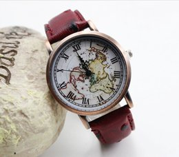 Wholesale Fashion ancient roma design men leather watch world map leisure quartz wris watches unisex casual sport watches for men