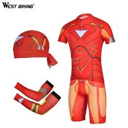 Wholesale-2015 New Design Men Bike Jerseys Sets Bicycle Arm Sleeve Cycling Bandana Breathable Gel Padded Bike Pants Cycling Jersey Sets