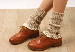 2016 button Lace Boot Cuffs knit boot topper lace trim faux legwarmers - lace cuff - shark tank leg warmers 5 colors 12 pairs lot#3991