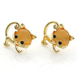Fashion Animal Stud Earrings New Lovely Gold Plated Brown Opal Cat Earrings For Women Luxury Jewelry