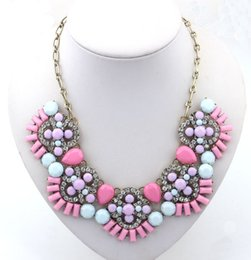 Fashion 2014 Rhinestone Necklace Flower Acrylic Charming Jewelry Gift Statement Bib Collar Necklace For Woman Promotion S98151