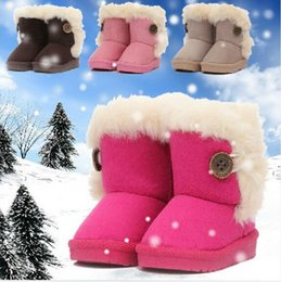 Wholesale Winter Children Boots Thick Warm Shoes Cotton Padded Suede Buckle Boys Girls Boots Boys Snow Boots Kids snow boot Shoes EU