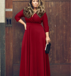 Wholesale 2016 New Fashion European And American Sexy Dress Dress Female Solid Color Big Wing Red Long Dress Plus Size Xxxl B