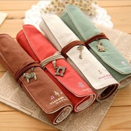 Wholesale-Korea stationery personalized roll pencil case canvas pen curtain elegant cosmetic pencil 4109
