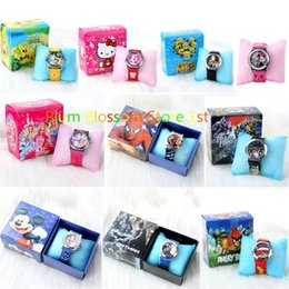 Wholesale Lovely Cute Cartoon Doll Mouse Bat Spider Barbie Pattern Wristwatch Child Kid Analog Quartz Watch Leather Band with beautiful gift box free