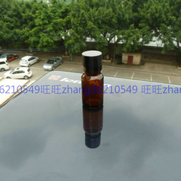 10ml brown amber Glass Essential Oil Bottle With shiny black aluminum cap. Oil vial, Essential Oil Container