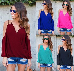 New Cold Shoulder Chiffon Blouse Cross Back Long Sleeve Loose Casual Shirt Women Plus Size Blouses Tops Red Black Blue DYG1102