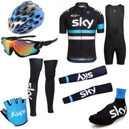 Wholesale 2016 Tour De France Sky Cycling Jerseys Set Short Sleeve Bib None Bib Pieces Set With Helmets Gloves Glasses Arm Leg Warmers