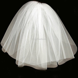 Cheap Real Image Stock 1 Layer White Ivory Wedding Comb Veils For Wedding Dresses Gowns Bridal Accessories Simple Bridal Veil