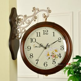 Wholesale Fashion double faced wood wall clock mute furniture living room decoration both sides of the clocks vintage pocket watch