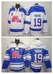 Quebec Nordiques Joe Sakic Hoody 19 Home Blue Road White Old Time Joe Sakic Ice Hockey Hoodie Pullover Sweatshirt Hoodies