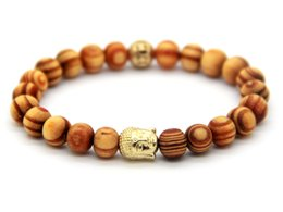 Wholesale New Products for Men and Women Gift,New Arrival 8mm Natural Beaded Wood Buddha Bracelets