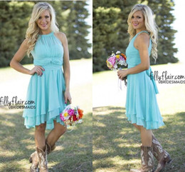 Hot Sale Cheap Country Style Turquoise Bridesmaid Dresses Crew Neck Ruffled Chiffon Mini Dress Beach Wedding Party Dresses CPS575