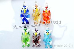 Owl Multi-Color Lampwork Murano Glass Animal Animal 3D Flower in Pendants Necklaces Wholesale Retail FREE #pdt12