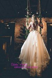 Wholesale vestido de noiva sweet neck backless a line bohemian wedding dresses with sash tulle bridal gowns