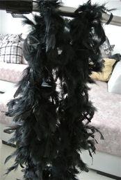 Free shipping 20pcs 200cm pcs black Feather Boas 40gram Chandelle Feather Boas Marabou Feather Boa for costumes decor party event supplies