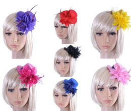 Feather and Flower Fascinator Hat with Black Headband Wedding Ladies Day 6 Colors for Choose Valentine Day Gift-J391