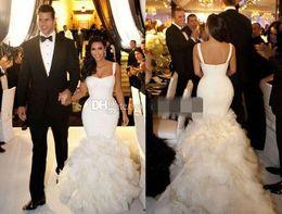 Sexy Fitted Trumpet Mermaid Bridal Wedding Dresses with Spaghetti Straps Celebrity Kim Kardashian Wedding Gown Custom Made