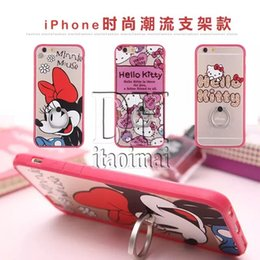 Wholesale 2016 New Luxury Cartoon Transparent Plating Cell Phone Protective Cases With Ring Buckle For Iphone6 s Plus Fashion HOT DHL