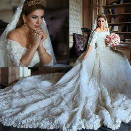 Luxury 2016 3D Floral Lace Wedding Dresses 1 2 Long Sleeve Bateau Neckline Vintage Chapel Bridal Gowns