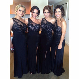 Vintage Navy Blue Bridesmaid Dresses Long Floor With Appliques Lace Split Side 2016 Sexy Formal Occasion Bridesmaids Dress For Wedding Party