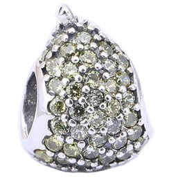 Sterling Silver Charms 925 Ale Rhinestone Yelow Pear European Charms for Pandora Bracelets DIY Fruit Beads Accessories