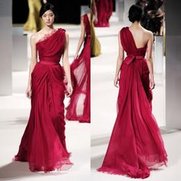 Ellie Saab Evening Dresses 2017 Runway Collection Unique Burgundy Dresses Party Evening A Line One Shoulder Lace Appliques Sequins Chiffon