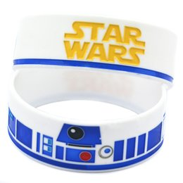 Wholesale Shipping New Arrival 50PCS Lot 1'' Wide Band Star Wars with R2-D2 Logo Ink-filled Colour Silicone Wristband Bracelet
