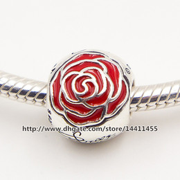 Wholesale 2015 New Sterling Silver Belle Enchanted Rose Charm Bead with Red Rose Fits European Pandora Jewelry Bracelets Necklaces Pendants