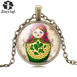 Wholesale Fashion Jewelry Necklace Glass Cabochon Silver Bronze Chain Tradition Russian Doll Picture Antique Vintage Pendant Necklace