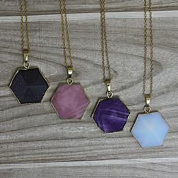 Wholesale Gemstone Point Necklace quot Amethyst Opal Rose Quartz Blue sand stone Quartz Chakra Pyramid Hexagon Bead Pendant Necklace For choose